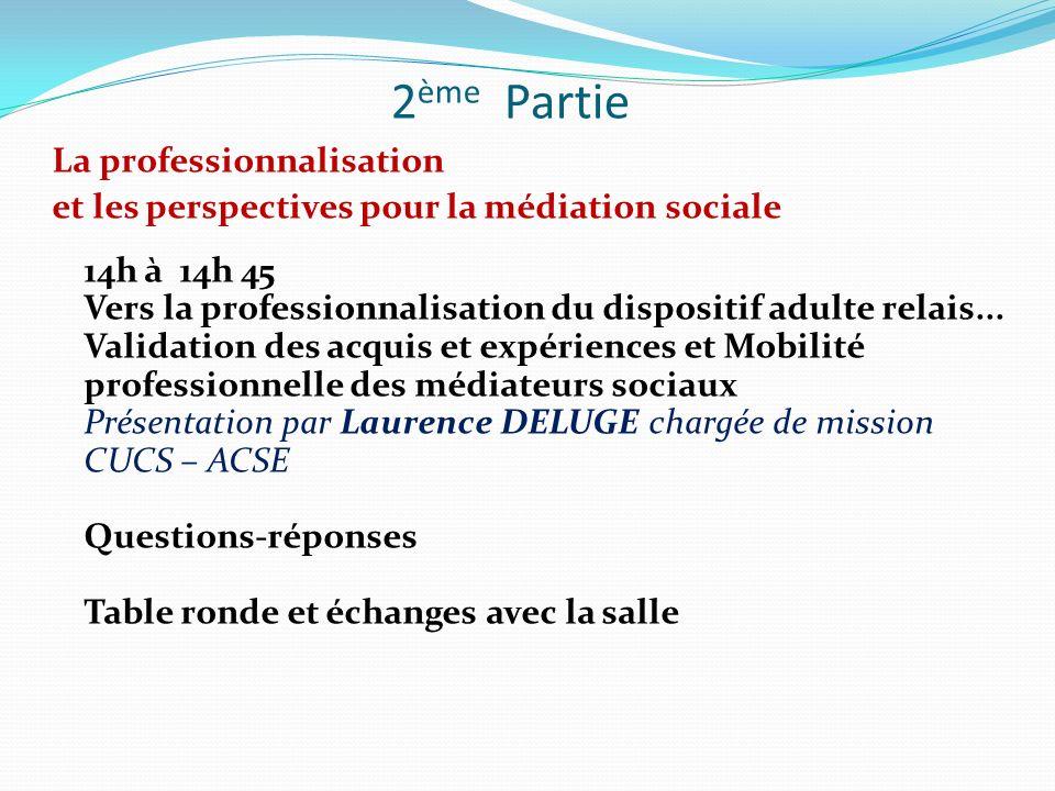 2 ème Partie La professionnalisation et les perspectives pour la médiation sociale 14h à 14h 45 Vers la professionnalisation du dispositif adulte rela