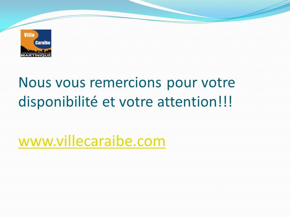 Nous vous remercions pour votre disponibilité et votre attention!!! www.villecaraibe.com www.villecaraibe.com