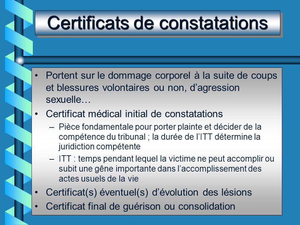 Formes du certificat Se font sur un imprimé ou un formulaire les certificats de : décès, accident du travail, maladie professionnelle ou à caractère p
