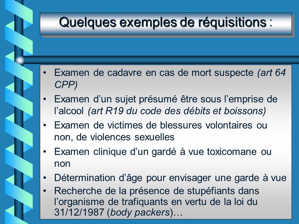 Les réquisitions Établies par un OPJ, un magistrat ou une autorité civile (art 60 CPP) Nominatives et impératives (art L367 CSP et R642-1 CP) Le médec