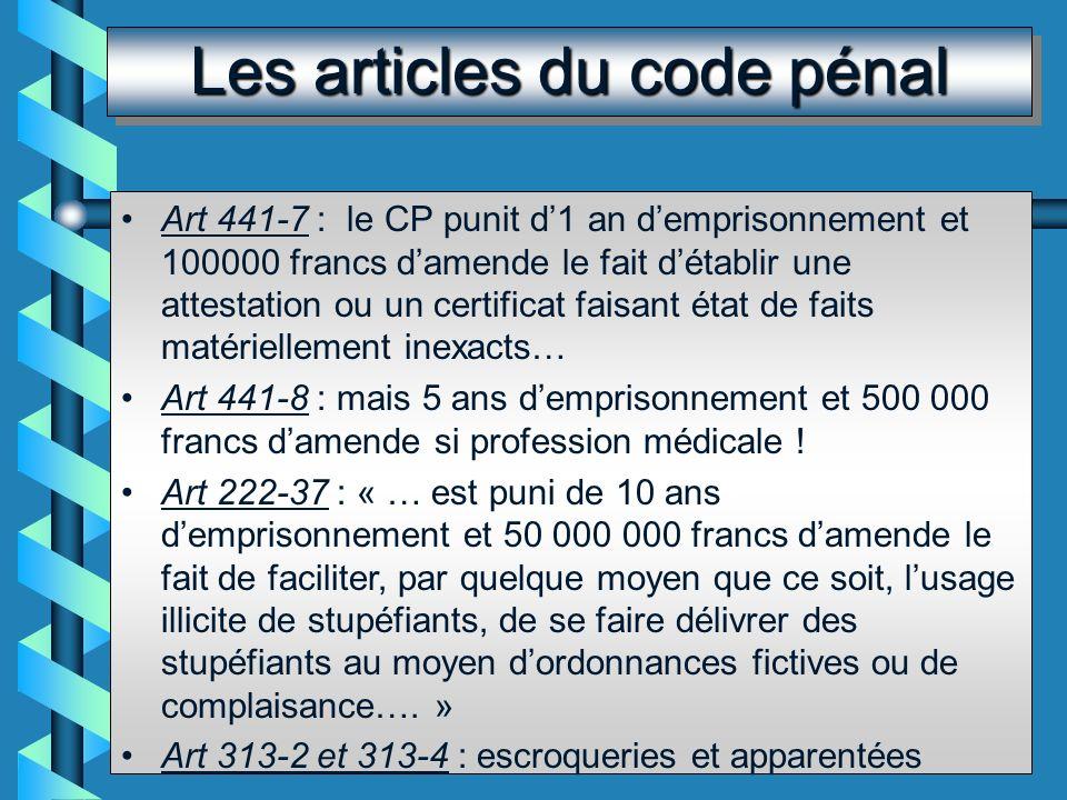 Le code pénal incrimine Le code pénal incrimine : Létablissement dun faux certificat faisant état de faits matériellement inexacts La falsification du