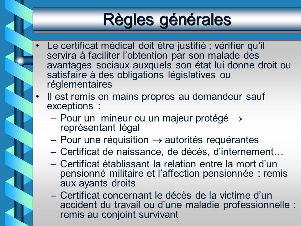 Certificats coutumiers…mais facultatifs Certificat pour voter par correspondance Certificats de non contagion, de non contre-indication à la vie en collectivité, de bonne santé apparente.
