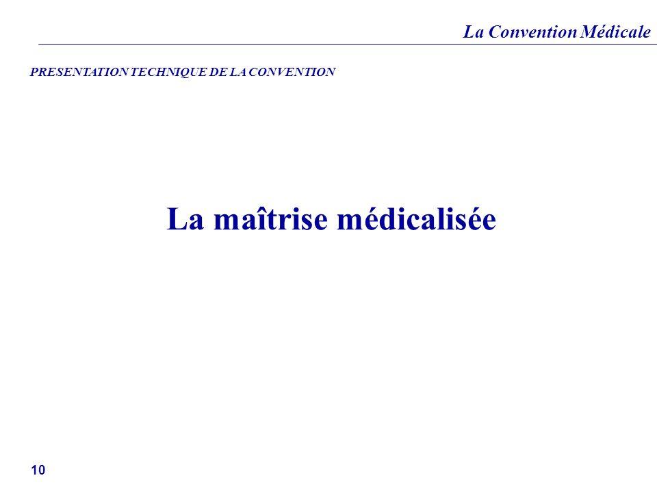 La Convention Médicale 10 La maîtrise médicalisée PRESENTATION TECHNIQUE DE LA CONVENTION