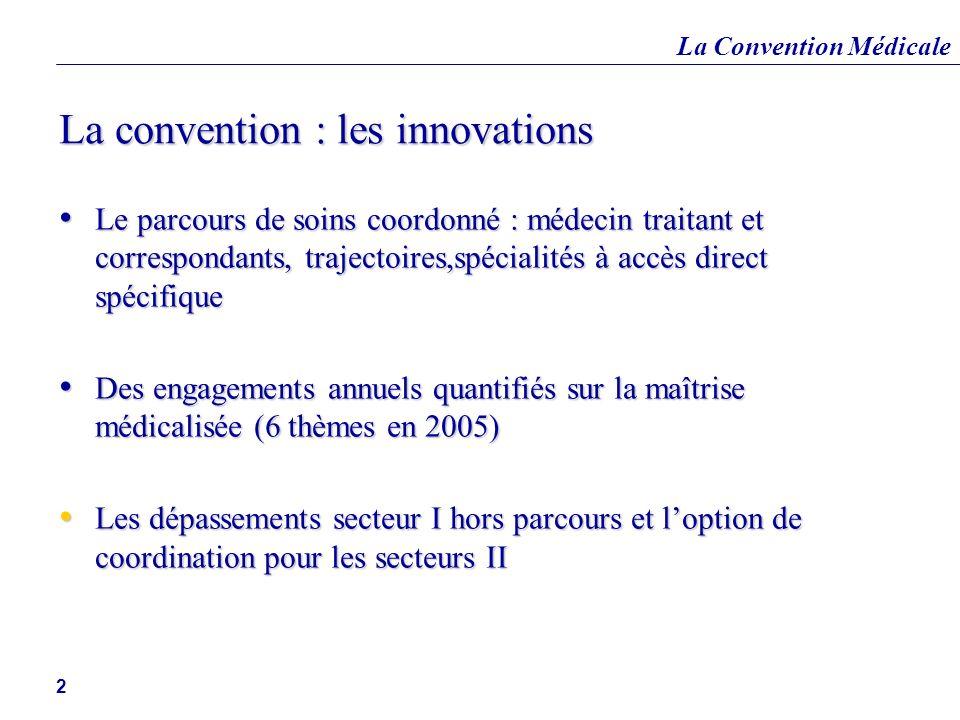 La Convention Médicale 2 La convention : les innovations Le parcours de soins coordonné : médecin traitant et correspondants, trajectoires,spécialités