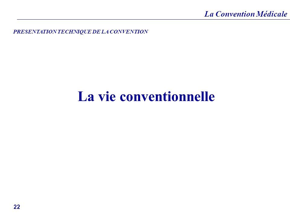 La Convention Médicale 22 La vie conventionnelle PRESENTATION TECHNIQUE DE LA CONVENTION