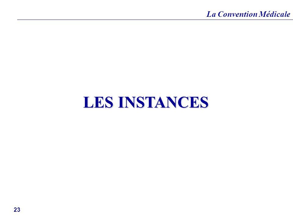 La Convention Médicale 23 LES INSTANCES