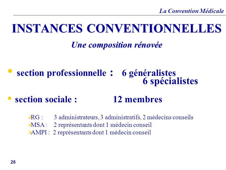 La Convention Médicale 26 INSTANCES CONVENTIONNELLES Une composition rénovée section professionnelle : 6 généralistes 6 spécialistes section sociale :