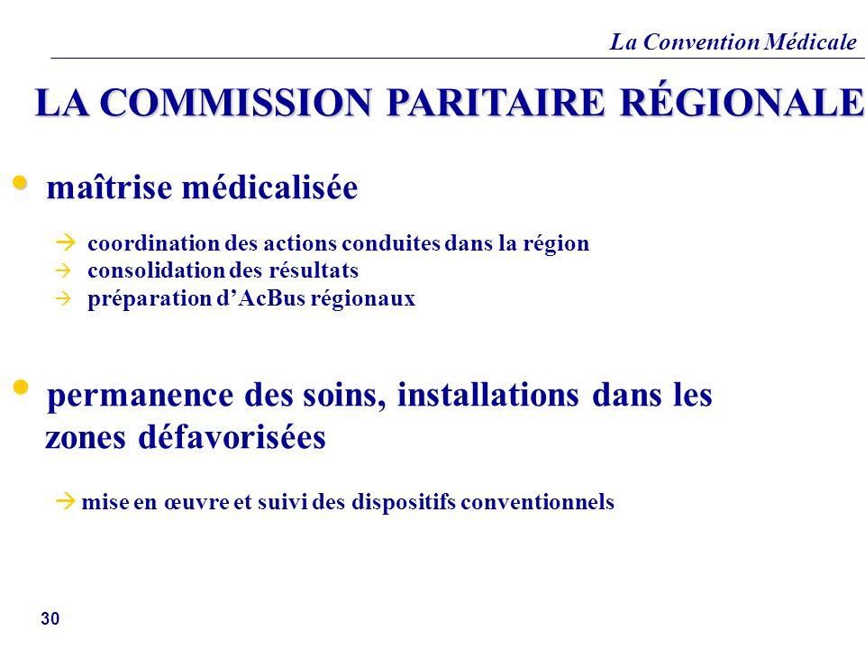 La Convention Médicale 30 LA COMMISSION PARITAIRE RÉGIONALE maîtrise médicalisée coordination des actions conduites dans la région consolidation des r