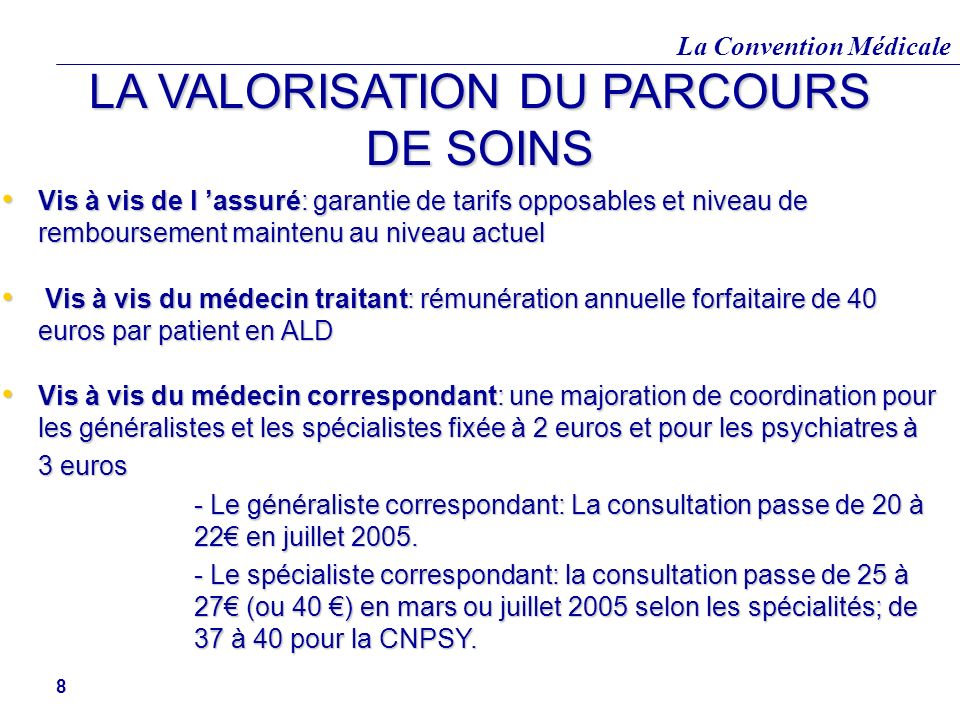 La Convention Médicale 8 LA VALORISATION DU PARCOURS DE SOINS Vis à vis de l assuré: garantie de tarifs opposables et niveau de remboursement maintenu