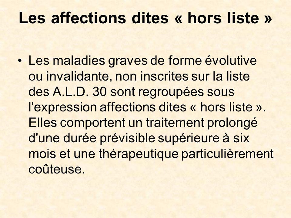 Les affections dites « hors liste » Les maladies graves de forme évolutive ou invalidante, non inscrites sur la liste des A.L.D. 30 sont regroupées so