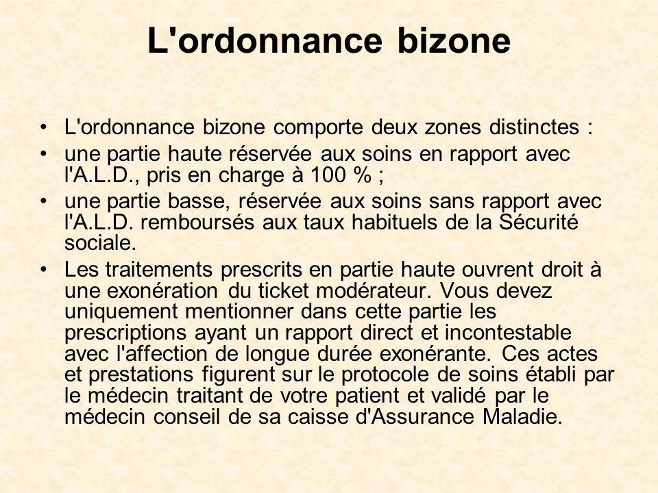 L'ordonnance bizone L'ordonnance bizone comporte deux zones distinctes : une partie haute réservée aux soins en rapport avec l'A.L.D., pris en charge