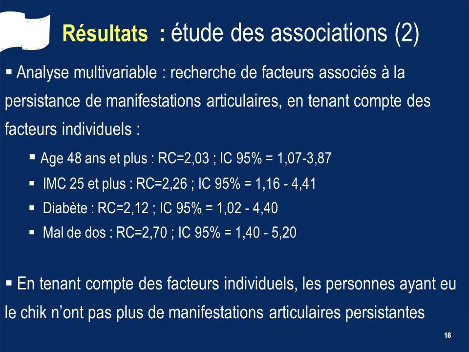 16 Résultats : étude des associations (2) Analyse multivariable : recherche de facteurs associés à la persistance de manifestations articulaires, en t