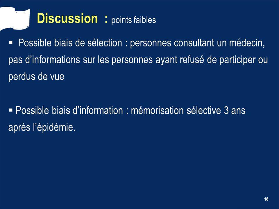 18 Discussion : points faibles Possible biais de sélection : personnes consultant un médecin, pas dinformations sur les personnes ayant refusé de part