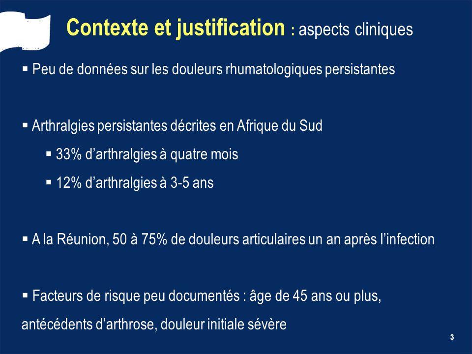 3 Contexte et justification : aspects cliniques Peu de données sur les douleurs rhumatologiques persistantes Arthralgies persistantes décrites en Afri