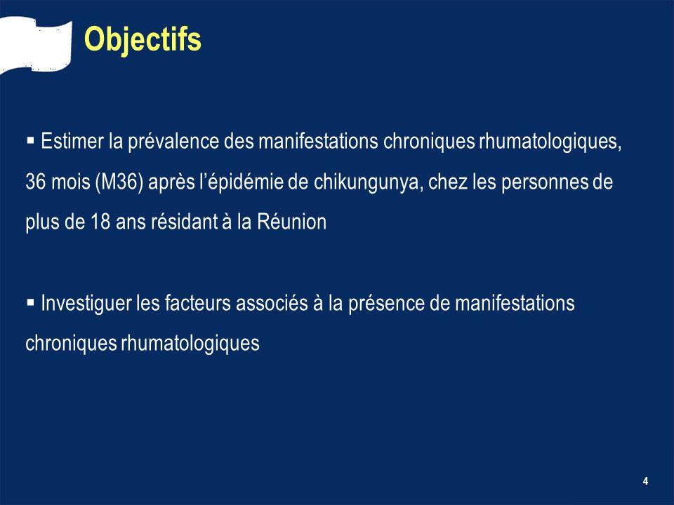 4 Objectifs Estimer la prévalence des manifestations chroniques rhumatologiques, 36 mois (M36) après lépidémie de chikungunya, chez les personnes de p