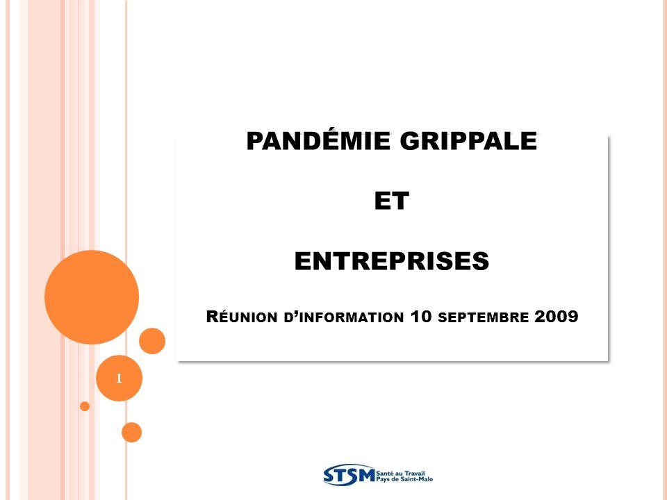 PANDÉMIE GRIPPALE ET ENTREPRISES R ÉUNION D INFORMATION 10 SEPTEMBRE 2009 1