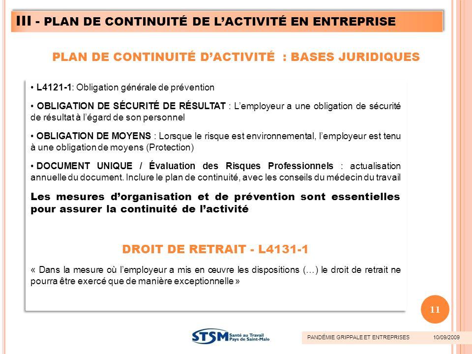 L4121-1: Obligation générale de prévention OBLIGATION DE SÉCURITÉ DE RÉSULTAT : Lemployeur a une obligation de sécurité de résultat à légard de son pe