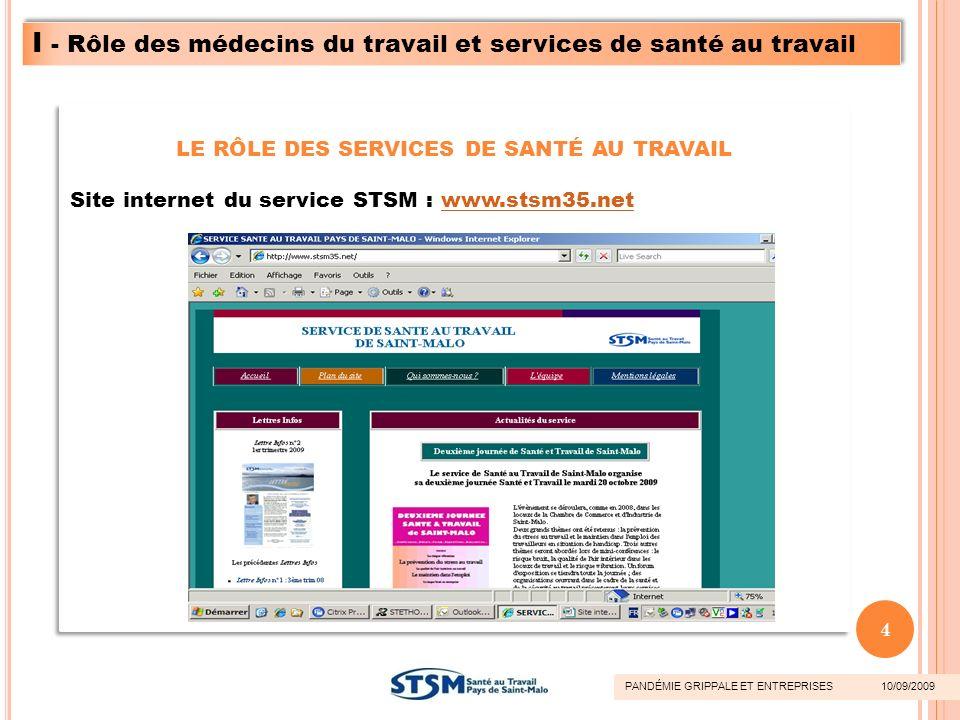 LE RÔLE DES SERVICES DE SANTÉ AU TRAVAIL Site internet du service STSM : www.stsm35.netwww.stsm35.net LE RÔLE DES SERVICES DE SANTÉ AU TRAVAIL Site in
