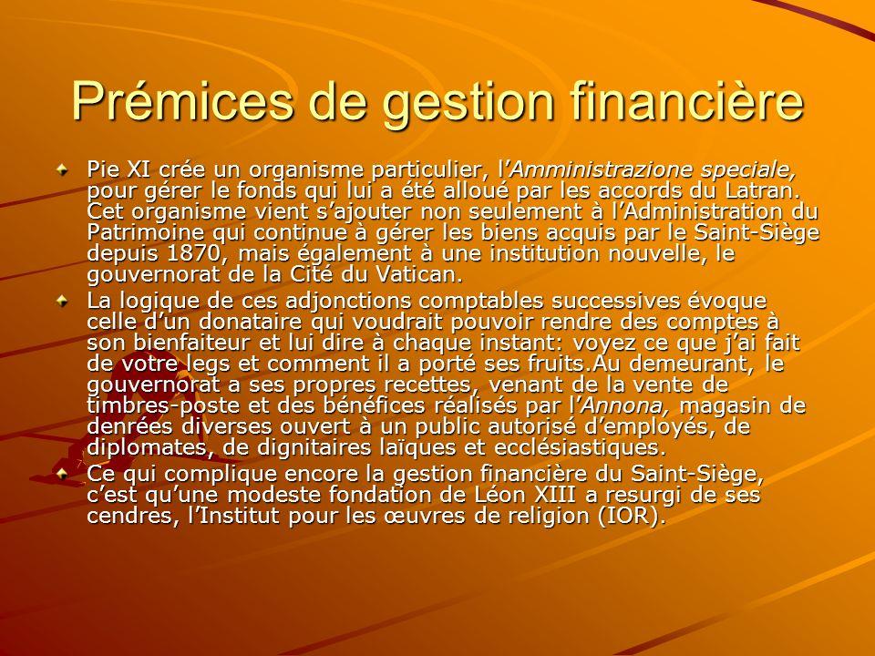 Prémices de gestion financière Pie XI crée un organisme particulier, lAmministrazione speciale, pour gérer le fonds qui lui a été alloué par les accor