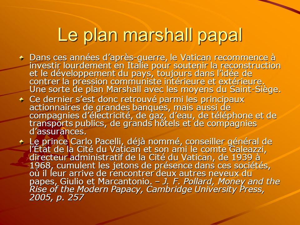 Le plan marshall papal Dans ces années daprès-guerre, le Vatican recommence à investir lourdement en Italie pour soutenir la reconstruction et le déve
