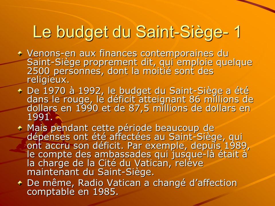 Le budget du Saint-Siège- 1 Venons-en aux finances contemporaines du Saint-Siège proprement dit, qui emploie quelque 2500 personnes, dont la moitié so