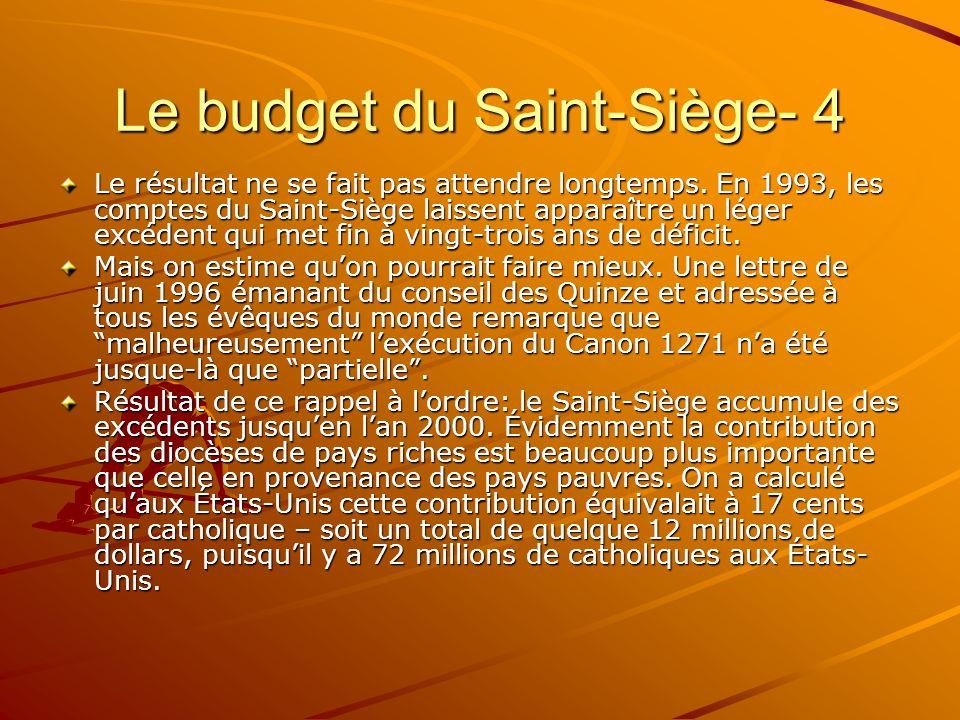 Le budget du Saint-Siège- 4 Le résultat ne se fait pas attendre longtemps. En 1993, les comptes du Saint-Siège laissent apparaître un léger excédent q