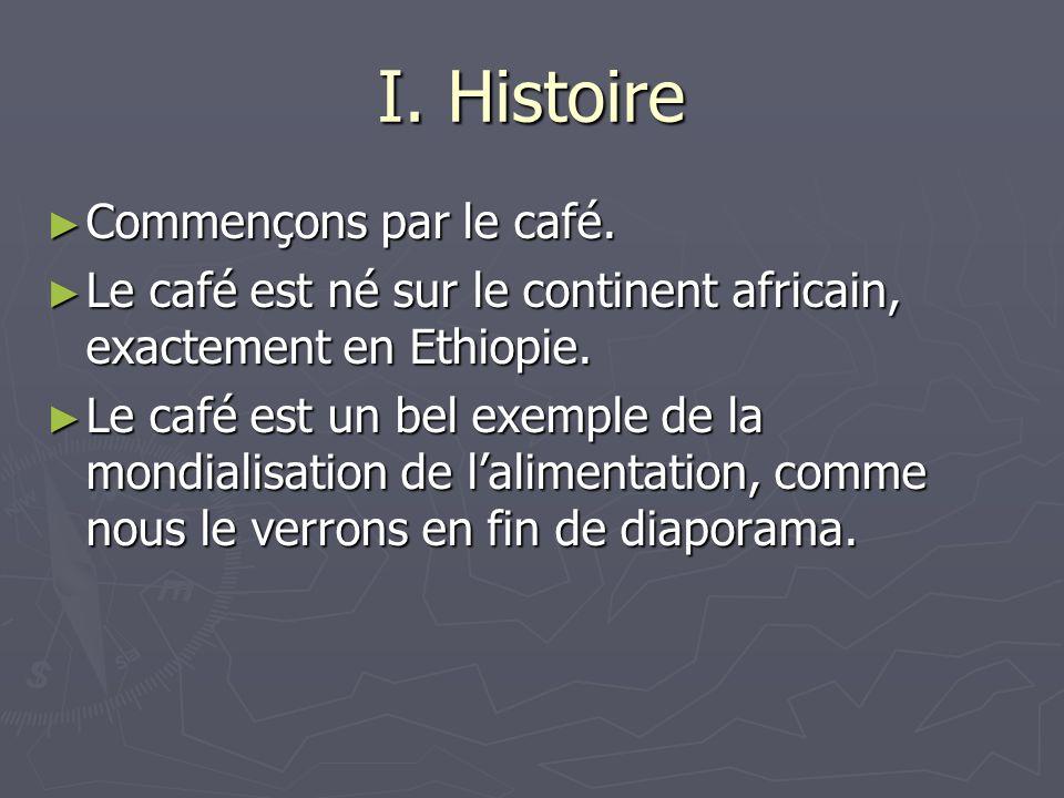 I. Histoire Commençons par le café. Commençons par le café. Le café est né sur le continent africain, exactement en Ethiopie. Le café est né sur le co