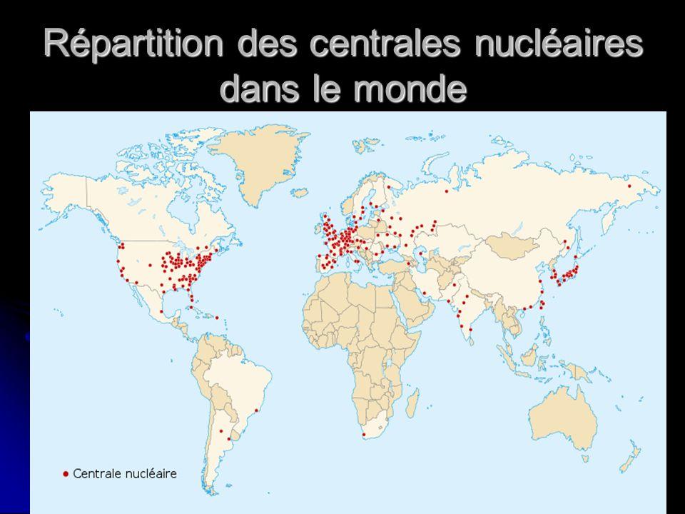 Répartition des centrales nucléaires dans le monde