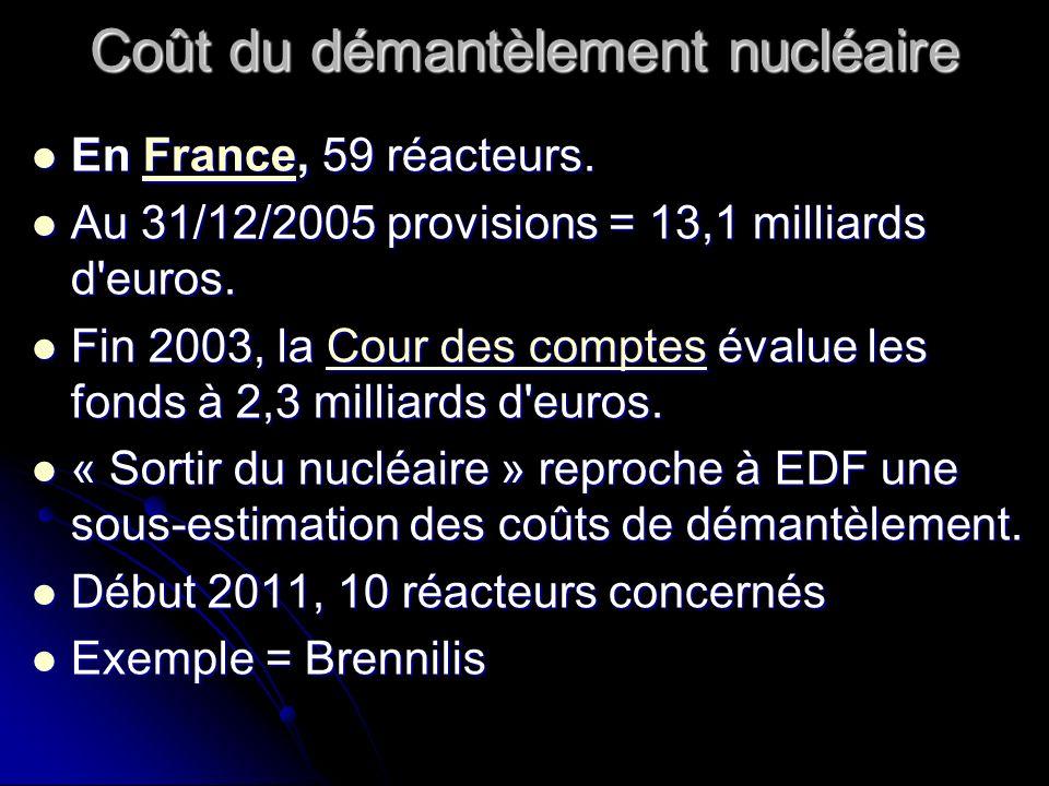 Coût du démantèlement nucléaire En France, 59 réacteurs. En France, 59 réacteurs.France Au 31/12/2005 provisions = 13,1 milliards d'euros. Au 31/12/20