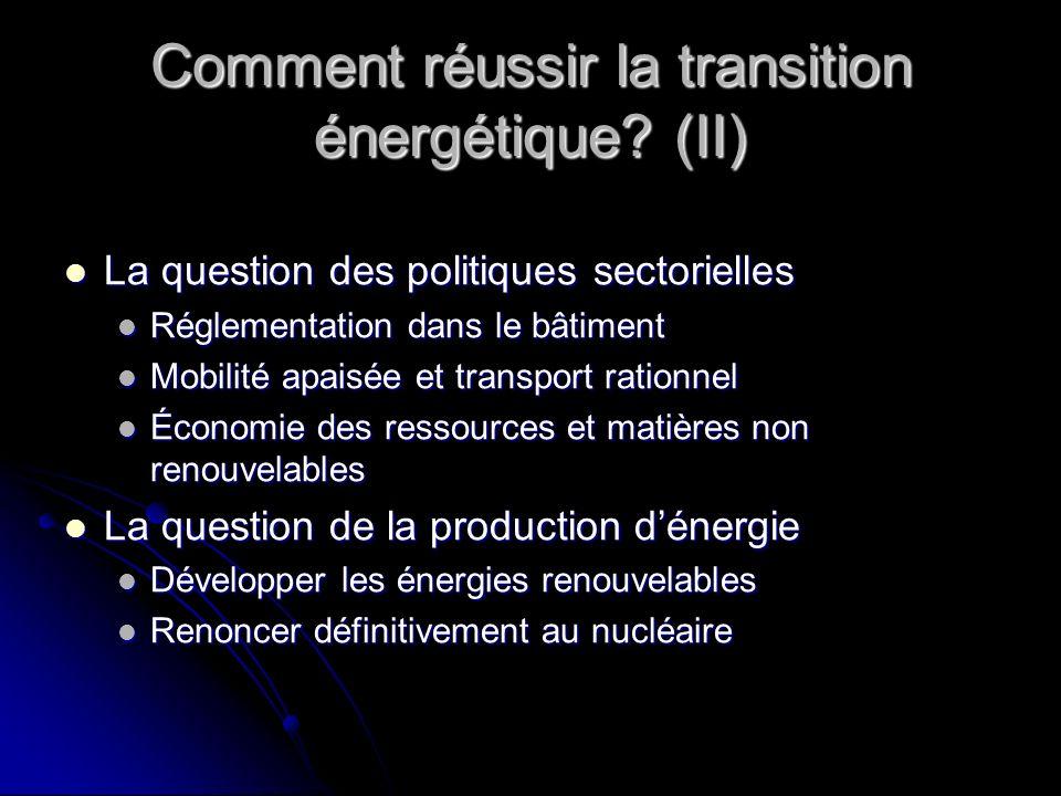Comment réussir la transition énergétique? (II) La question des politiques sectorielles La question des politiques sectorielles Réglementation dans le