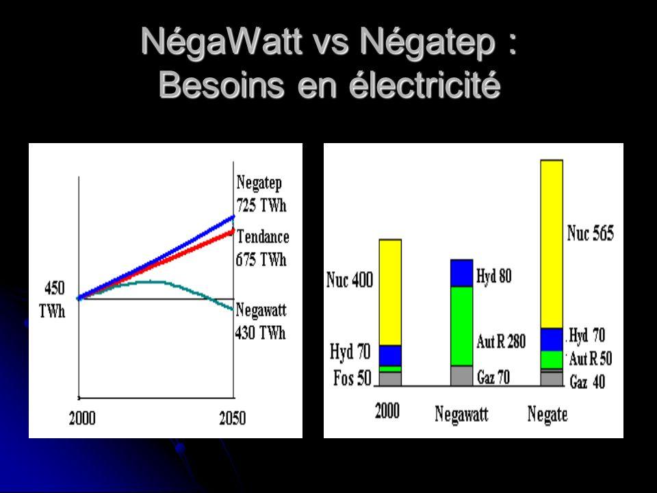 NégaWatt vs Négatep : Besoins en électricité
