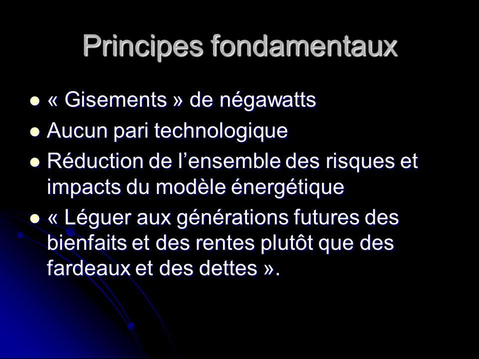 Principes fondamentaux « Gisements » de négawatts « Gisements » de négawatts Aucun pari technologique Aucun pari technologique Réduction de lensemble