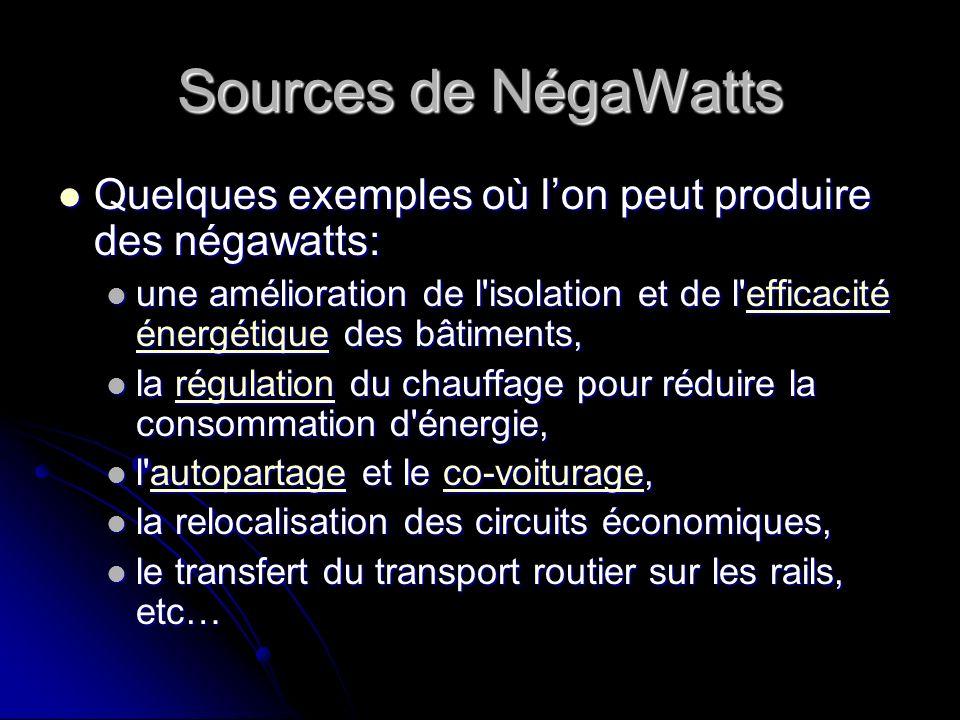 Sources de NégaWatts Quelques exemples où lon peut produire des négawatts: Quelques exemples où lon peut produire des négawatts: une amélioration de l