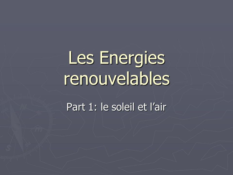 Principes de fonctionnement La puissance du vent est : La puissance du vent est : P cinétique = 0,5 SV 3 P cinétique = 0,5 SV 3 est la masse volumique de lair, S la section, V la vitesse du vent.