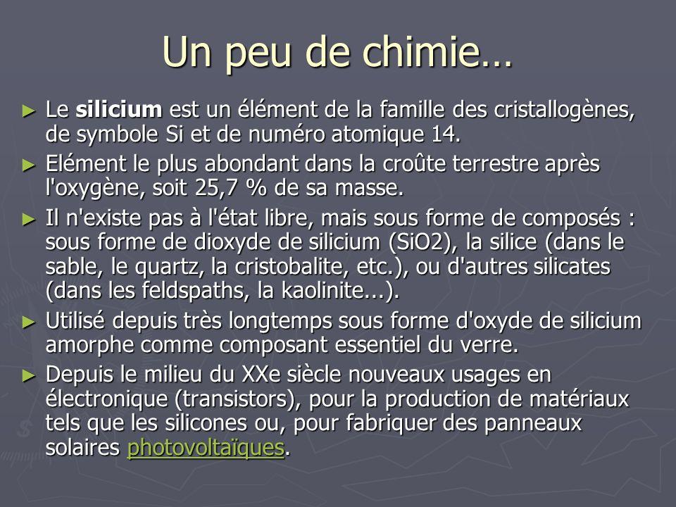Un peu de chimie… Le silicium est un élément de la famille des cristallogènes, de symbole Si et de numéro atomique 14. Le silicium est un élément de l