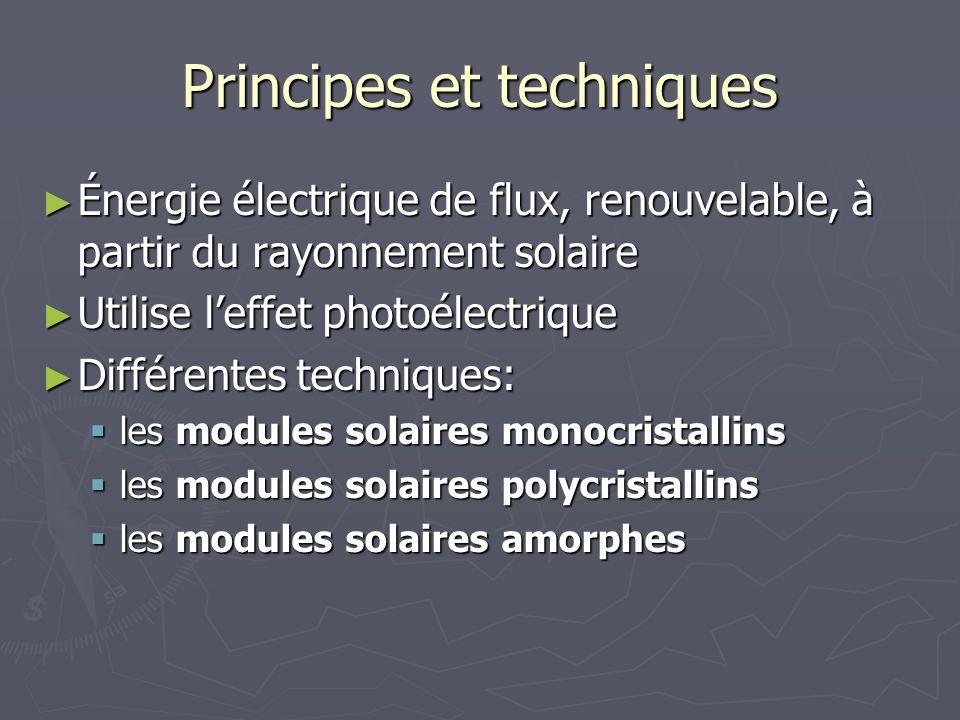 Principes et techniques Énergie électrique de flux, renouvelable, à partir du rayonnement solaire Énergie électrique de flux, renouvelable, à partir d