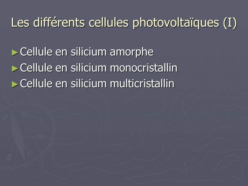 Les différents cellules photovoltaïques (I) Cellule en silicium amorphe Cellule en silicium amorphe Cellule en silicium monocristallin Cellule en sili