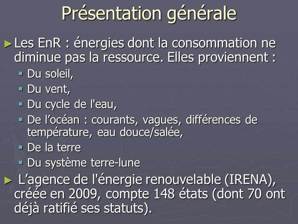Présentation générale Les EnR : énergies dont la consommation ne diminue pas la ressource. Elles proviennent : Les EnR : énergies dont la consommation