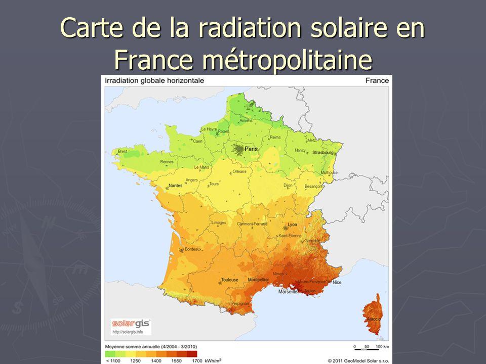 Carte de la radiation solaire en France métropolitaine