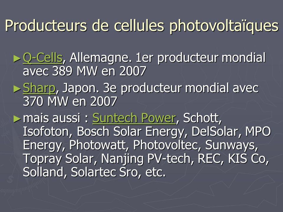 Producteurs de cellules photovoltaïques Q-Cells, Allemagne. 1er producteur mondial avec 389 MW en 2007 Q-Cells, Allemagne. 1er producteur mondial avec