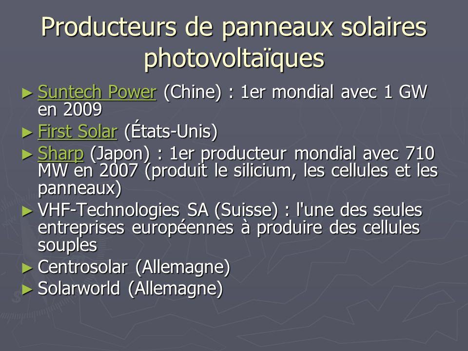 Producteurs de panneaux solaires photovoltaïques Suntech Power (Chine) : 1er mondial avec 1 GW en 2009 Suntech Power (Chine) : 1er mondial avec 1 GW e