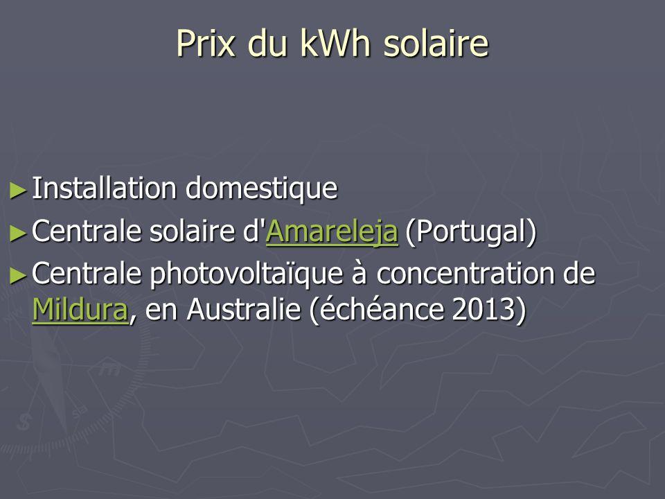 Prix du kWh solaire Installation domestique Installation domestique Centrale solaire d'Amareleja (Portugal) Centrale solaire d'Amareleja (Portugal)Ama