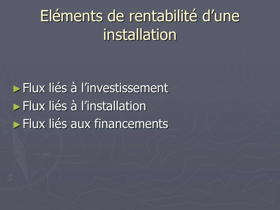 Eléments de rentabilité dune installation Flux liés à linvestissement Flux liés à linvestissement Flux liés à linstallation Flux liés à linstallation