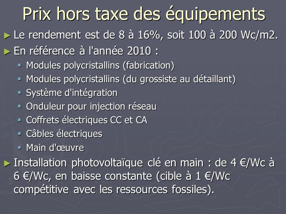 Prix hors taxe des équipements Le rendement est de 8 à 16%, soit 100 à 200 Wc/m2. Le rendement est de 8 à 16%, soit 100 à 200 Wc/m2. En référence à l'
