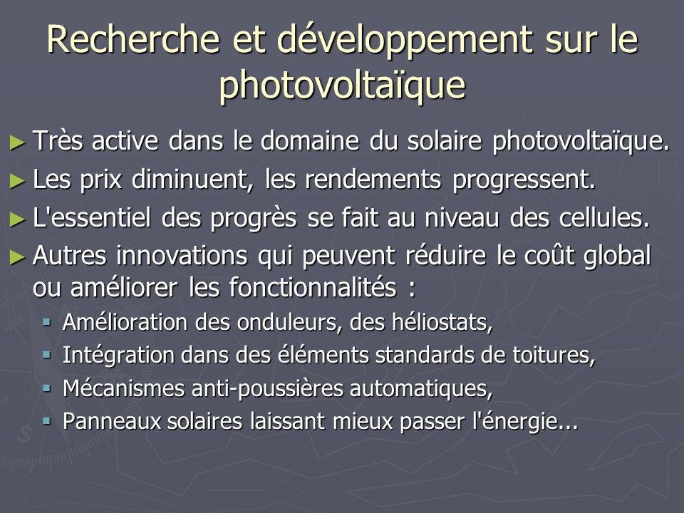 Recherche et développement sur le photovoltaïque Très active dans le domaine du solaire photovoltaïque. Très active dans le domaine du solaire photovo