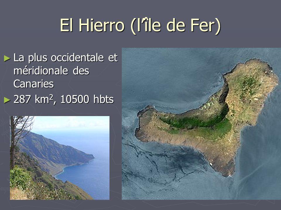 El Hierro (lîle de Fer) La plus occidentale et méridionale des Canaries La plus occidentale et méridionale des Canaries 287 km 2, 10500 hbts 287 km 2,