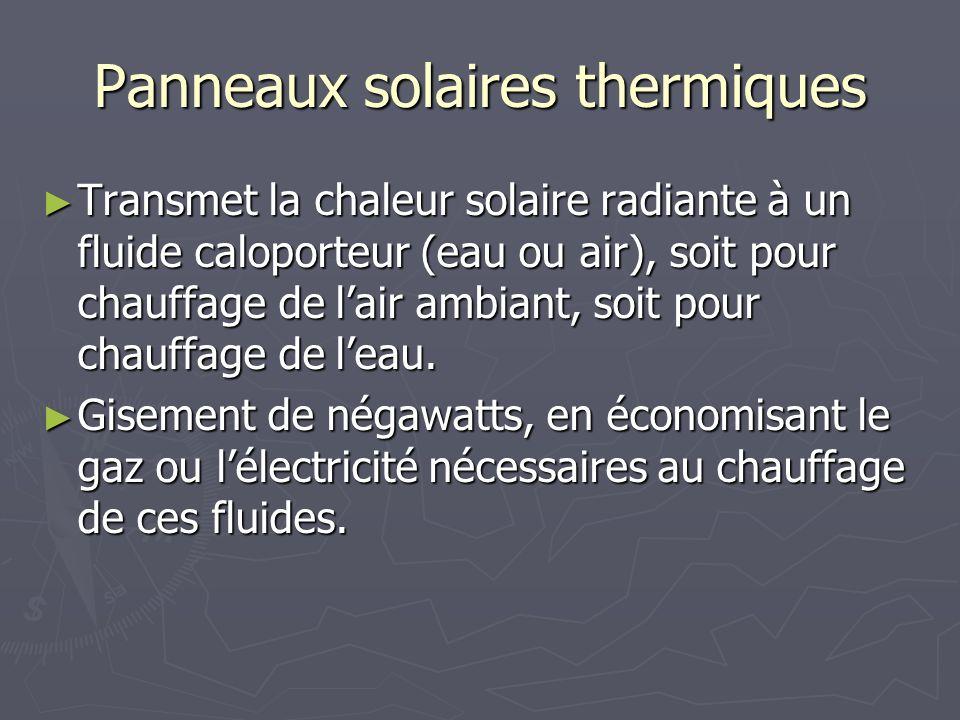 Panneaux solaires thermiques Transmet la chaleur solaire radiante à un fluide caloporteur (eau ou air), soit pour chauffage de lair ambiant, soit pour