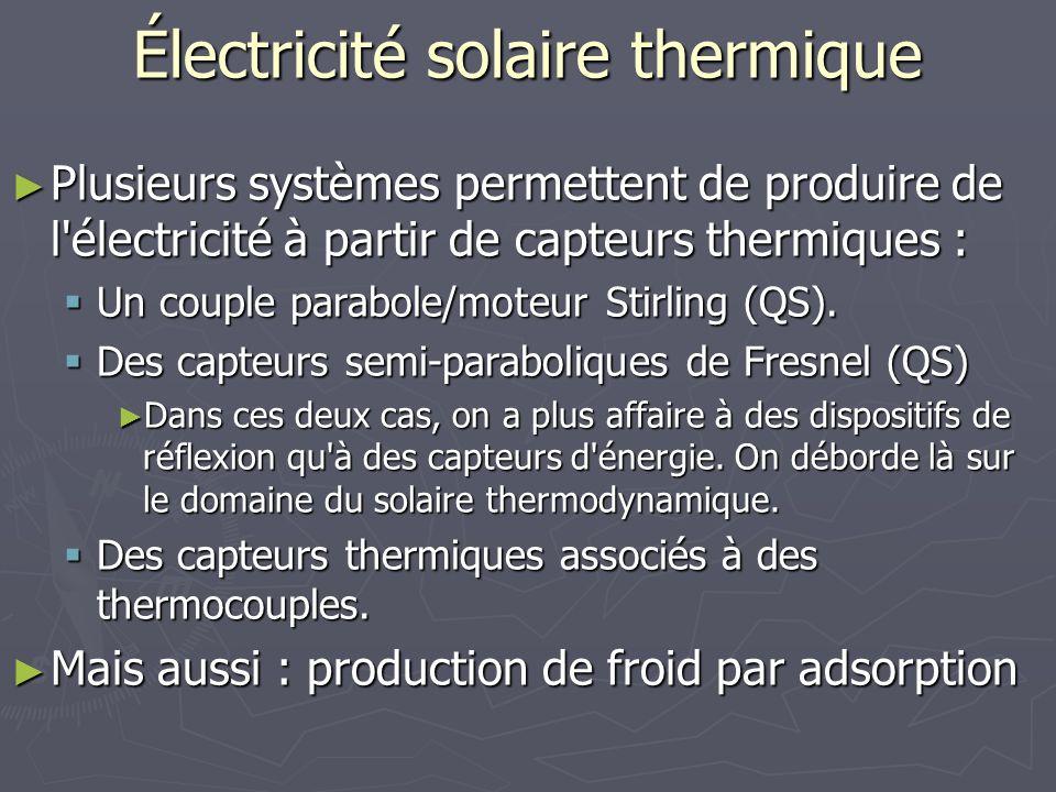 Électricité solaire thermique Plusieurs systèmes permettent de produire de l'électricité à partir de capteurs thermiques : Plusieurs systèmes permette
