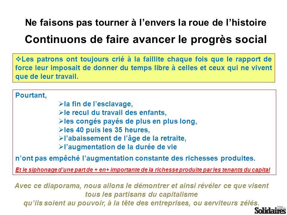 Nous allons voir ensemble : Un résumé de lhistoire des systèmes de retraites en France, la progression, puis la régression, Les projets du gouvernement et du MEDEF, pourquoi nous ne sommes pas daccord, Nos propositions.