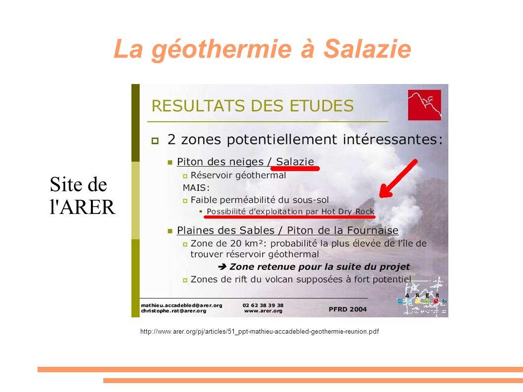 La géothermie à Salazie Site de l'ARER http://www.arer.org/pj/articles/51_ppt-mathieu-accadebled-geothermie-reunion.pdf